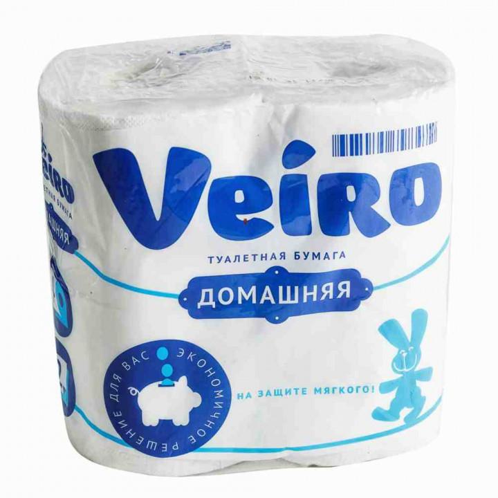 Туалетная бумага Veiro Домашняя 2-х слойная, 4х15 метров