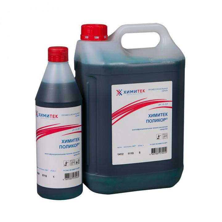 Поликор многофункциональное концентрированное жидкое пенное кислотное средство